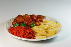 Uma mistura de frutos secados para uma dieta saudável Foto de Stock Royalty Free