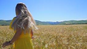 Uma moça em um vestido amarelo com o cabelo longo que corre em um campo de trigo Movimento lento vídeos de arquivo