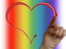 Uma mão que desenha um coração Foto de Stock Royalty Free