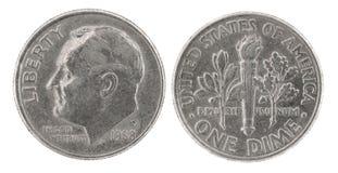 Uma moeda de dez centavos Foto de Stock