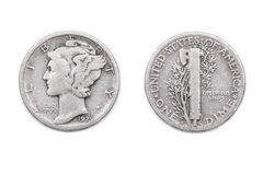Uma moeda de dez centavos americana Imagens de Stock