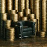 Uma moeda de um centavo salvar é uma moeda de um centavo ganhada - dinheiro grande para o chefe grande (euro Imagens de Stock