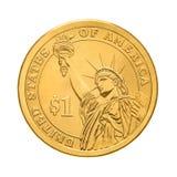 Uma moeda do dólar - estátua da liberdade imagens de stock royalty free