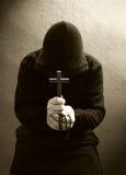 Uma monge cristã praying Imagem de Stock