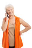Uma mulher adulta que fala através do telefone. Imagens de Stock