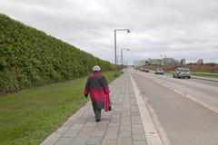 Uma mulher anda ao longo da parede da linha da terra com ajardinar vertical da hera Fotografia de Stock