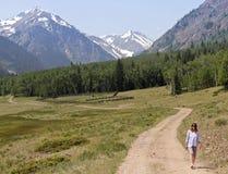 Uma mulher anda uma estrada no Byway alpino de Backcountry do laço fotografia de stock royalty free