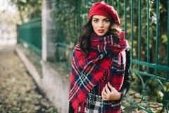 Uma mulher bonita no outono Imagem de Stock Royalty Free