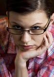 Jovem mulher pensativa Fotos de Stock