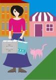 Uma mulher com saco de compras Ilustração Stock