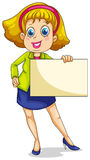 Uma mulher de negócios gorda que guardara um signage vazio Foto de Stock