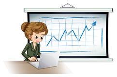 Uma mulher de negócios que usa o portátil na frente da placa Fotografia de Stock