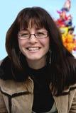 Uma mulher de sorriso   Foto de Stock