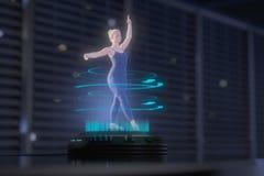 Uma mulher do holograma está dançando ilustração stock