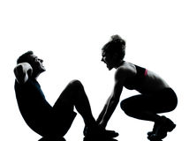 Uma mulher do homem dos pares que exercita a aptidão do exercício Imagem de Stock Royalty Free