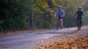 Uma mulher e um homem que montam uma bicicleta um o dia do outono Imagens de Stock Royalty Free