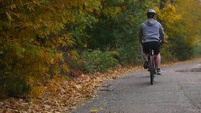 Uma mulher e um homem que montam uma bicicleta um o dia do outono Fotografia de Stock Royalty Free