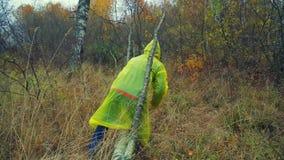 Uma mulher em etapas de uma capa de chuva sobre uma árvore caída no plano total da floresta video estoque