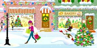 Uma mulher em uma rua coberto de neve na Noite de Natal ilustração royalty free