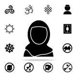 Uma mulher em um ícone do burqa Grupo universal dos ícones da religião para a Web e o móbil ilustração stock