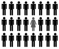 Uma mulher entre o pictograma de muitos homens ilustração stock