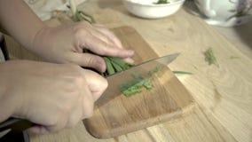 Uma mulher está cozinhando a goulash com couve cozido video estoque