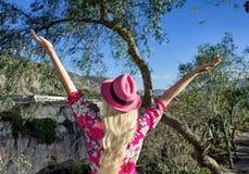 Uma mulher está estando com seus braços estendido Em um chapéu cor-de-rosa Olha as montanhas e a ravina fotografia de stock