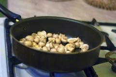 Uma mulher está fritando cogumelos na cozinha O processo de fritura em uma frigideira Preparação do alimento pela prescrição Kitc foto de stock