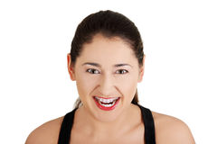 Uma mulher frustrante e irritada está gritando Fotografia de Stock