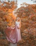 Uma mulher gravida nova com o cabelo louro decorado com orquídeas vivas é vestida em um vestido de vibração luxuoso cor-de-rosa l imagens de stock royalty free