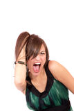 Uma mulher nova feliz com expressão facial Foto de Stock