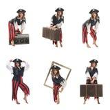 Uma mulher nova vestida como um pirata Foto de Stock