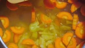 Uma mulher prepara uma sopa do vegetariano com as cenouras na natureza e adiciona-lhe a pimenta cortada video estoque
