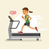 Uma mulher que corre em uma escada rolante Ilustração do vetor Fotos de Stock Royalty Free