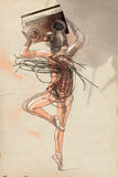 Uma mulher que guarda acima de seu gravador principal Illust tirado mão Foto de Stock