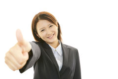 Uma mulher que sorriso feliz Fotos de Stock