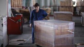 Uma mulher que trabalha na planta embala tijolos refratários do polietileno video estoque
