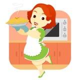Mulher na cozinha que guardara a torta ilustração royalty free