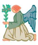Uma mulher tem as asas que guardam uma flor ilustração stock