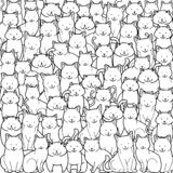 Uma multidão de gatos no estilo da garatuja no fundo branco Vetor de gatos diferentes da ilustração ilustração do vetor