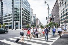 Uma multidão de povos que cruzam uma rua da cidade no cruzamento pedestre Foto de Stock