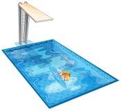 Uma natação da menina na associação com uma placa de mergulho Imagem de Stock Royalty Free