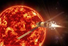 Uma nave espacial que aproxima o sol