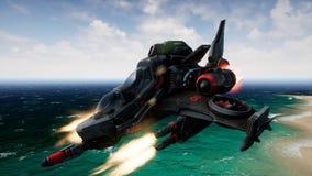 Uma nave espacial que voa sobre um planeta desconhecido e tiros da água rendição 3d fotos de stock