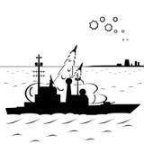Uma navio de guerra está atacando Imagem de Stock