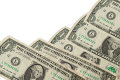 Uma nota de dólar no fundo branco Fotografia de Stock Royalty Free