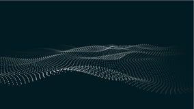 Uma onda das part?culas Onda futurista do ponto Ilustra??o do vetor Fundo azul abstrato com uma onda din?mica Onda 3d ilustração do vetor
