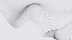 Uma onda das part?culas Onda futurista do ponto no fundo branco Onda din?mica Onda 3d ilustração stock