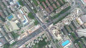 Uma opinião aérea da skyline de Shenzhen, Lo Wu, China sob o tempo do smokey filme