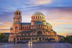 Uma opinião bonita Alexander Nevsky Cathedral em Sófia, Bulgária foto de stock
